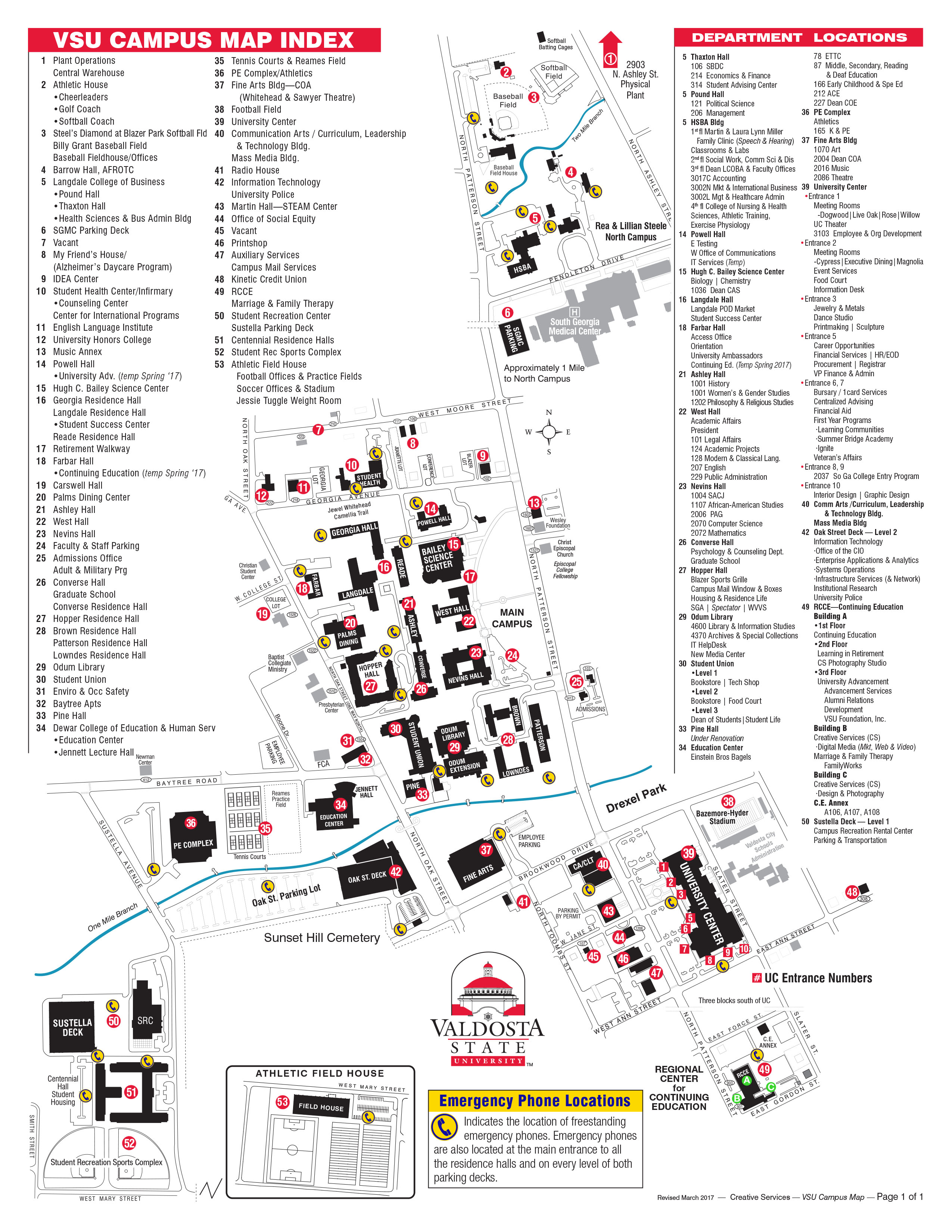 Campus Map Valdosta State University - Georgia map valdosta